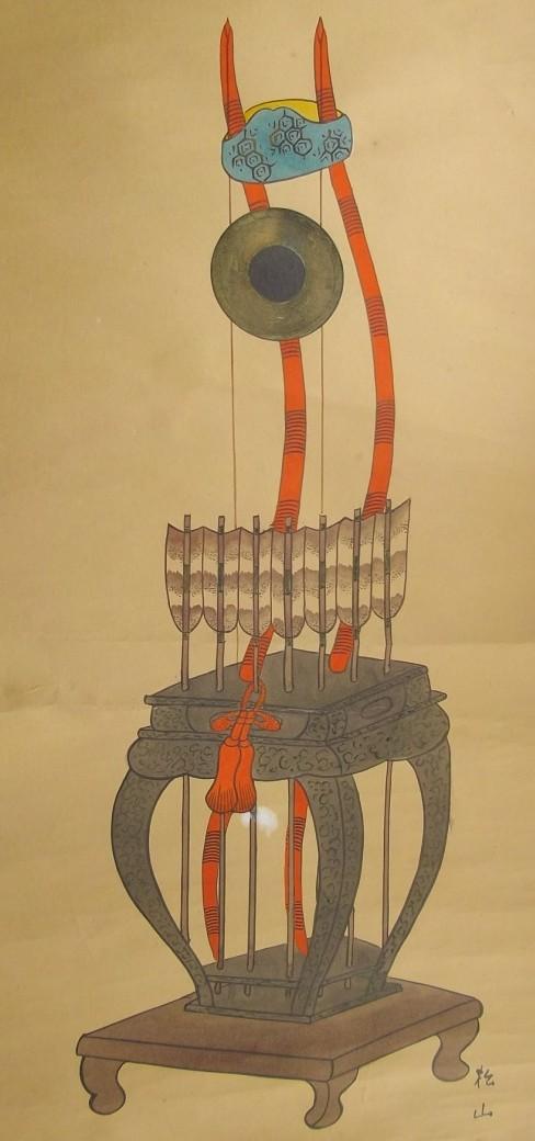 松山画「弓の図」